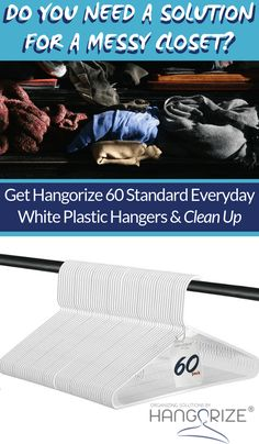 Standard Everyday White Plastic Long Lasting Tubular Clothes Hangers, Value Pack of 60 - Merrili Arniz Wall Storage, Closet Storage, Closet Organization, Organization Ideas, Smart Storage, Jewelry Wall, Plastic Hangers, Konmari Method, Clothing Storage