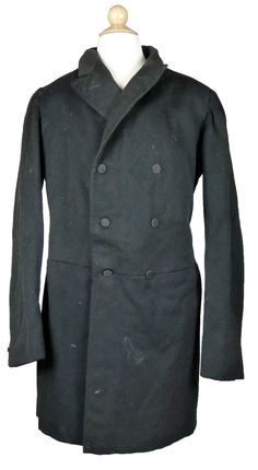Men's Black Wool Frock Coat from 1860-1880         Just imported from France an early men's black wool frock coat 1860 - 1880.  Buttons co...
