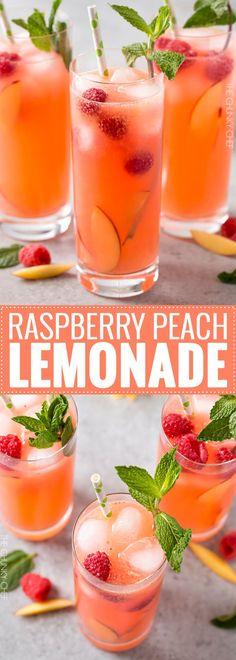 Homemade Raspberry Peach Lemonade | The perfect refreshing summer drink is here! Full of raspberry and peach flavors, this homemade lemonade is like drinking sunshine! | http://thechunkychef.com #cocktaildrinks