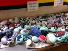 """pick up pebble, paint it, personalise it...these were made to create a treasure hunt in a sensory garden we created..clues were """"find the caterpiller with red boots on!"""" etc"""