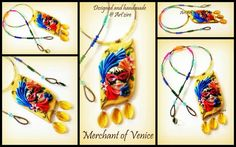 Venetian mask in Polymer clay... Co artist in this piece. The idea was to create something with a face as the central figure. Since a lot has been done with the face mold, we decided to think oblique!