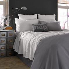 Kenneth Cole Reaction Home Mineral Waffle Weave Coverlet in Gunmetal - BedBathandBeyond.com