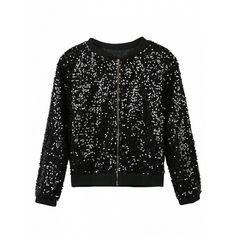 Choies Black Sequin Detail Long Sleeve Bomber Jacket (95 BRL) ❤ liked on Polyvore featuring outerwear, jackets, black, bomber style jacket, blouson jacket, sequin bomber jacket, flight jacket and long sleeve jacket
