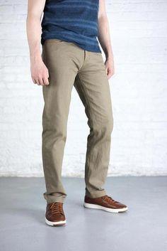 d24010a21b3a Tailored Fit Men s Khaki Denim Jeans - 45 Degree Angle Khaki Jeans