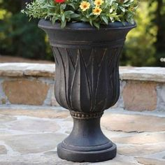 Black outdoor flower urn.  21 in. H Cast Stone Sharp Leaf Urn in Charcoal Finish-PF4307AC at The Home Depot