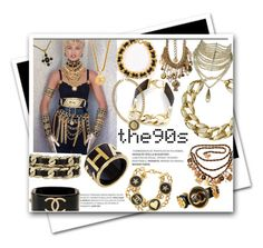 """""""Linda Evangelista - Chanel - 90s"""" by rocklovenstyle ❤ liked on Polyvore featuring Erickson Beamon, Kenneth Jay Lane, Christian Dior, Chanel, Elaine Turner and Black"""