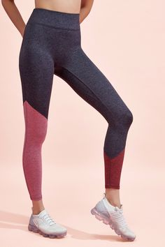 These high-rise, leggings are made of super-soft mossed-finish fabric and have an asymmetrical color blocking detail. Model is and wearing a size small. Bandy, Athleisure, Color Blocking, Fashion Forward, Luxury Fashion, Leggings, Style Inspiration, Legs, Fabric