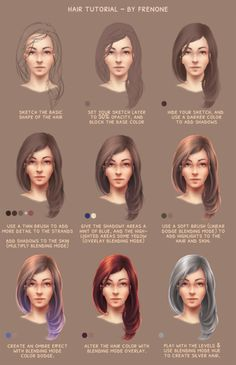 How to draw hair - tutorial (using Photoshop) by frenone on @DeviantArt