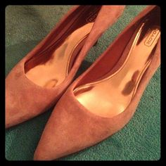 Coach shoes Pink coach heels - 2 in. Heel - pointy toe - great condition with 3 minor stains on right shoe(see pics) Coach Shoes