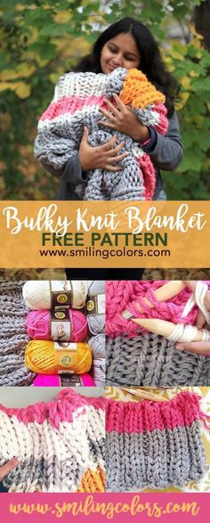 An easy Bulky Knit Blanket Free Pattern that uses three strands of yarn held together to quickly knit up an afghan/blanket. Smitha Katti/www.smilingcolors.com