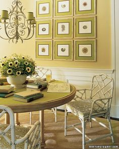 Tips for Decorating with Green 1. Highlight a chandelier's fanciful lines by painting simple paper shades a coordinating color and finishing with contrasting grosgrain ribbon. 2. Richly colored two-tone framing mats bring vibrancy without the need to repaint an entire wall. 3. Cover the table with a coordinating mat that protects the table and entices the eye. 4. Embellish a sisal rug with a painted border to tie the room together and reinforce the color scheme with little effort or…