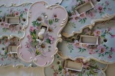 Shabby chic wall switch plates with Roses - grandmother's house!