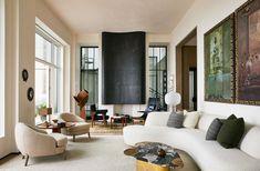 Design Salon, Downtown New York, Oak Panels, Walnut Dining Table, Custom Sofa, Deco Furniture, Summit Furniture, Furniture Design, Lounge Areas