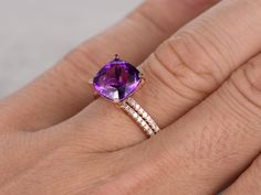 8X8mm Cushion Amethyst Wedding Set Diamond Bridal Ring 14k Rose Gold Unique Prong Pave Thin Matching Band - BBBGEM