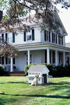 A scaled-down farmhouse stays true to its 19th-century roots with hand-cut clapboards and wraparound veranda.   House: Greek Revival, 1825-1860.  Dog: Emma