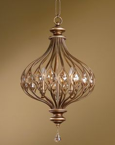 master bedroom Sabina, 3 Lt Pendant 28 H X 16 Dia. (in) Burnished Gold Metal With Golden Teak Cut Crystal Accents.