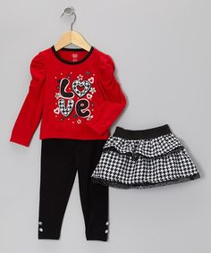 Take a look at this Red 'Love' Top Set - Infant & Toddler by Young Hearts on #zulily today!
