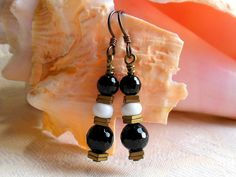 Black white and gold earrings, niobium earrings, hypoallergenic, black onyx, antique brass hematite and white ceramic by #EyeCandybyCathy on Etsy