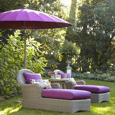 purple outdoor seating