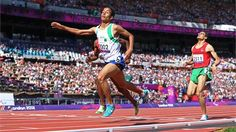 Abdellatif Baka of Algeriacrosses the line to win the goldduring the men's 800mT13 final on Day 10 of the London 2012 Paralympic Games at the Olympic Stadium.