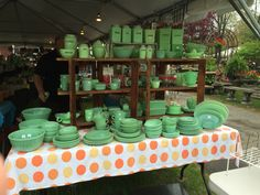 Just @ passed out when I saw this booth @ Brimfield Antique Market May 13th. 2015! Jadeite heaven on earth!