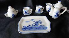 Vintage Delft Blue Handpainted Minature Tea Set With Tray. $12.00, via Etsy.