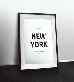Take me to New York coordinates, New York decor, Typographic Print, Latitude Longitude Art, Printable Poster, Wall Art, Printable Quote by PetruCreatives on Etsy