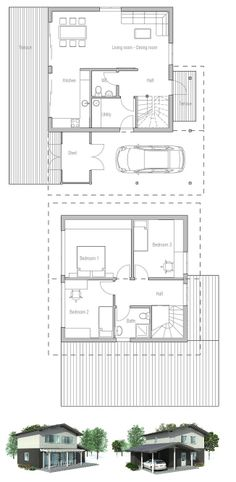 Small house plan to small & narrow lot. Full wall height windows in the living area, three bedrooms. Affordable small home plan.