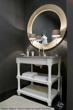 Flamant Calife bathroom vanity in single or double sink, weather beaten oak or white. Belgian bluestone top with white porcelain sink. Order through Copper Strawberry, importing Flamant Home Interiors to the USA. www.copperstrawberry.com  Link: http://www.copperstrawberry.com/european-furniture/flamant-furniture-usa-lighting-home/flamant-bed-bath-furniture/flamant-bathroom-furniture/catalog/flamant-calife-bathroom-vanity-white-usa