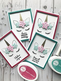 💗🦄💗 This card set by is magical, sparkly, and unicorn-terrifical! That's a word, right? Tap on photo for product info. Unicorn Birthday Cards, Girl Birthday Cards, Unicorn Party, Birthday Ideas, Creative Birthday Cards, Handmade Birthday Cards, Handmade Cards, Handmade Christmas Crafts, Unicorn Face