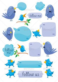 Set Of Blue Birds With Blobs