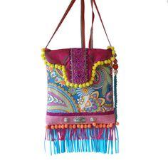 6e605f3c97b Klein tasje Ibiza franje, schoudertasje gekleurd, paisley print tasje  hippie stijl, turquoise roze
