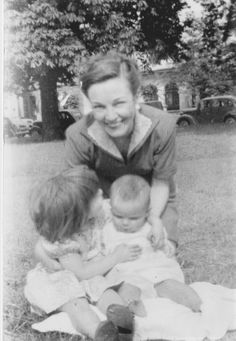 Mum, me and my sister in Primrose Gardens, North London in July 1953