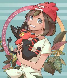 Pokémon Sun and Moon: Litten with the Female Trainer Pokemon Moon, Pokemon 20, Pokemon Pins, Manga Games, Sun Moon, Love Pictures, Manga Art, Chibi, Cartoon