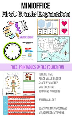 Free Mini Office Printables.  This is a First Grade Expansion Pack and includes loads of handy charts and resources for your student.