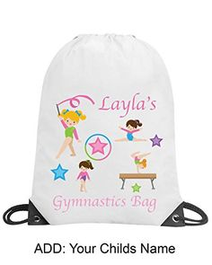 GIRLS Kids Personalised FLOWER FAIRY Gym BAG for Swim PE School Dance Great Gift