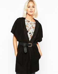 Selected Calli Suede Jacket in Black