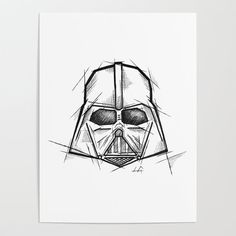 Darth Vader Handmade Drawing Made in pencil charcoal and ink Tattoo Sketch Tattoo Flash Sketch Metal Print by lucagenart Darth Vader Stencil, Darth Vader Artwork, Darth Vader Comic, Star Wars Tattoo, Star Tattoos, Flash Sketch, Cuadros Star Wars, Star Wars Drawings, Naruto Tattoo