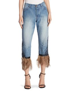 Feather trimmed jeans