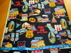 A Henry Fabric Route 66 Vintage Cars Cities Travel Road Signs Black 4 Quilts | eBay