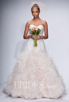 "Brides: Watters - Spring 2014. Style 12603, ""Allegra"" strapless shimmer tulle dropped waist ball gown wedding dress with a ruffled skirt, sweetheart neckline, and beaded belt, Watters"