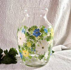Hand painted daisies on glass vase by DeannaBakale on Etsy, $20.00