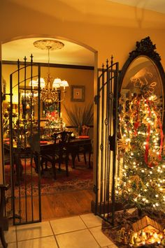 Entryway to dining room - The wrought iron gates complete the picture