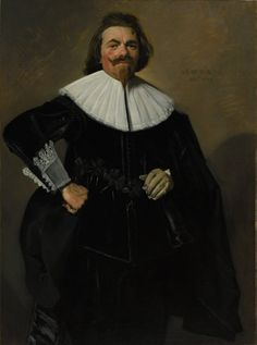 """""""Portrait of Tieleman Roosterman"""" by Frans Hals. In the collection of The Cleveland (OH) Museum of Art. Tieleman Roosterman's business in fine linen and silk fabrics extended as far as France. Given his trade, it is no surprise that Hals emphasized the costume here- luxurious despite its somber color. The inscription at the upper right, painted by Hals, gives the sitter's age as 36 and the painting's date."""