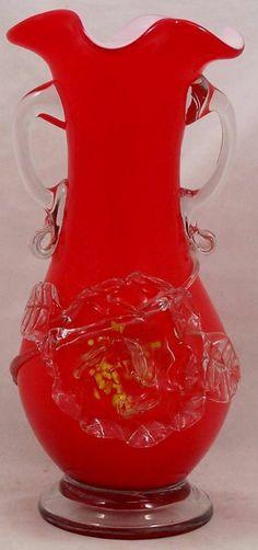 Handmade Red Cased Art Glass Vase Applied Glass Flower & Handles