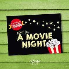 Lowes coupon 10 off lowes coupons on pinterest lowes coupon printable movie night coupon card pdf invitation by owlyprint fandeluxe Gallery
