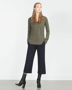 MIXED FABRIC T-SHIRT -Flowing top, long sleeves, stripe-plain combination