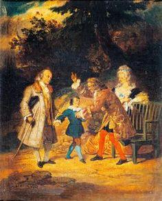 Voltaire accueillant Franklin - Achille Deveria (1800–1857)