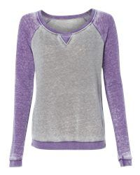 J. America 8927 - Ladies' Zen Fleece Raglan Sleeve Crewneck Sweatshirt - Wholesale and Bulk Pricing Available