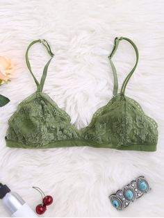 Strappy Floral Lace Bralette Top - Green M Lace Bralette Top, Halter Bralette, Underwear Online, Cute Bras, Floral Lace, Sexy Lingerie, Trendy Fashion, Lounge Wear, String Bikinis